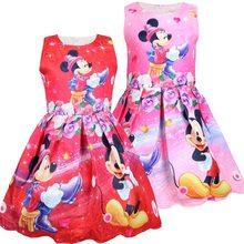 Disney Prinses Cartoon Baby Kinderen Kleding Meisje Bevroren Elsa Vest Jurk Afdrukken Kid Katoen A-lijn Jurk Mickey Mouse Minnie