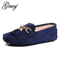 GRWG 2020 New Arrival Casual Womens Shoes Genuine Leather Women Loafers Moccasins Fashion Slip On Women Flats Shoes