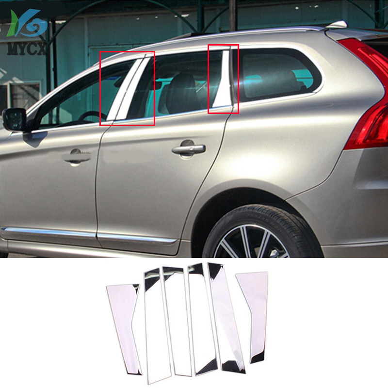2015 For <font><b>Volvo</b></font> <font><b>XC60</b></font> XC 60 2009 2010-2012 2013 <font><b>2014</b></font> Stainless Steel Center Pillar B + C Posts Cover Trims Car Accessories 6PCS image
