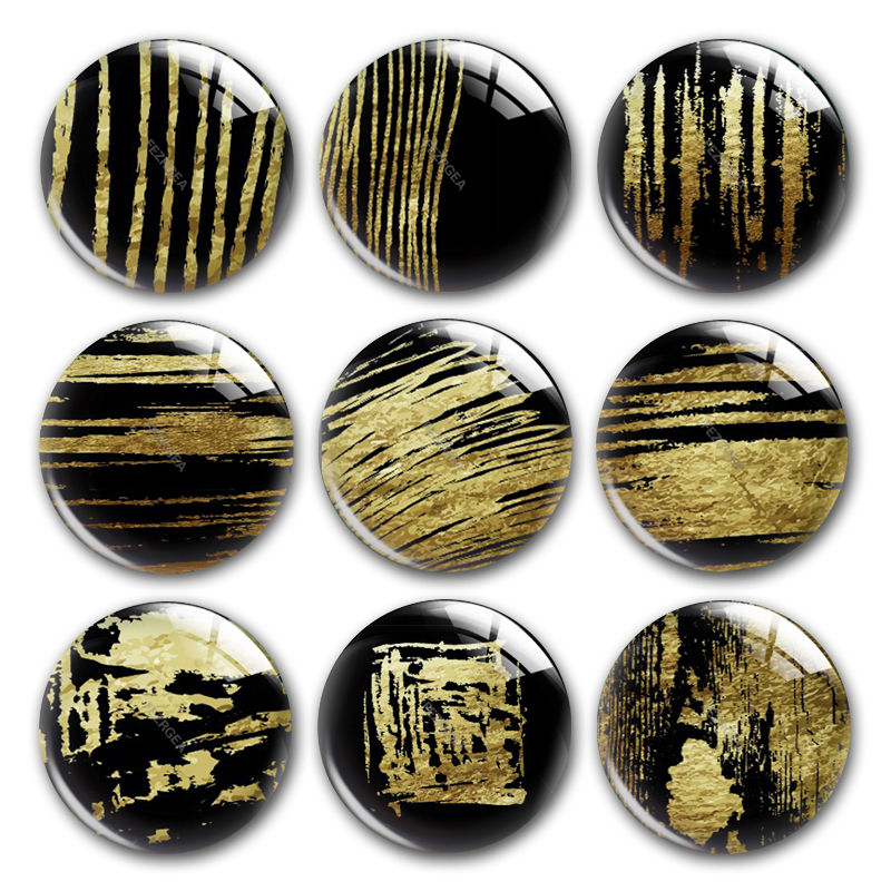 Gold Foil Pattern Glass Cabochon,Black And Gold Foil Gilded Marble Round Photo Glass Cabochon Demo Flat Back Making Findings