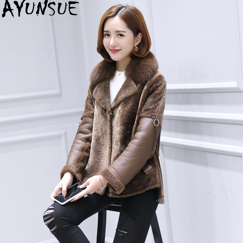 AYUNSUE Luxury Double Faced Fur Coat Female Natural Sheep Shearling Fur Jackets Winter Jacket Women Genuine Leather Jacket MY