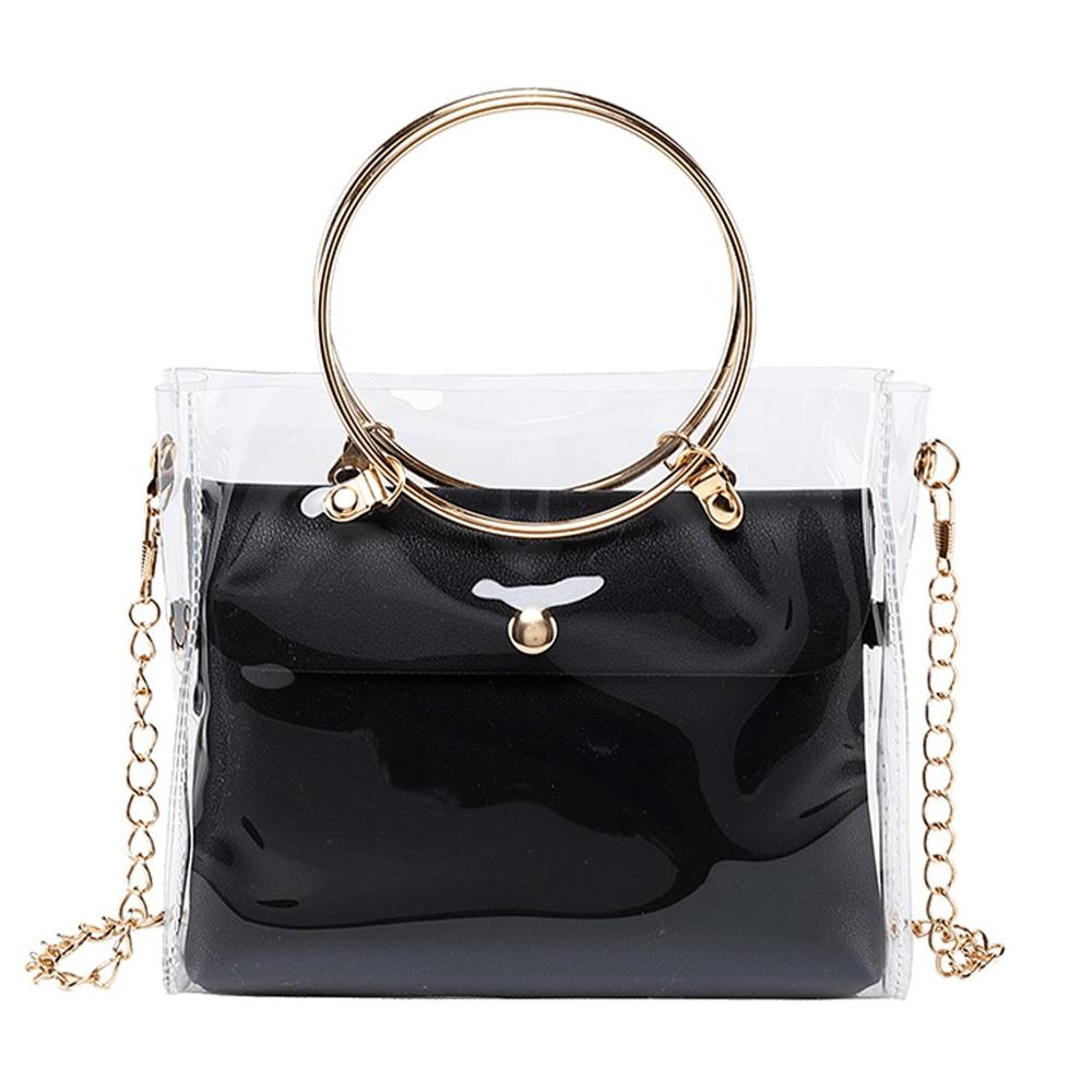 Fashion Lady Shoulders Jelly Package Handbag Fashion Small Transparent Purse Mobile Phone