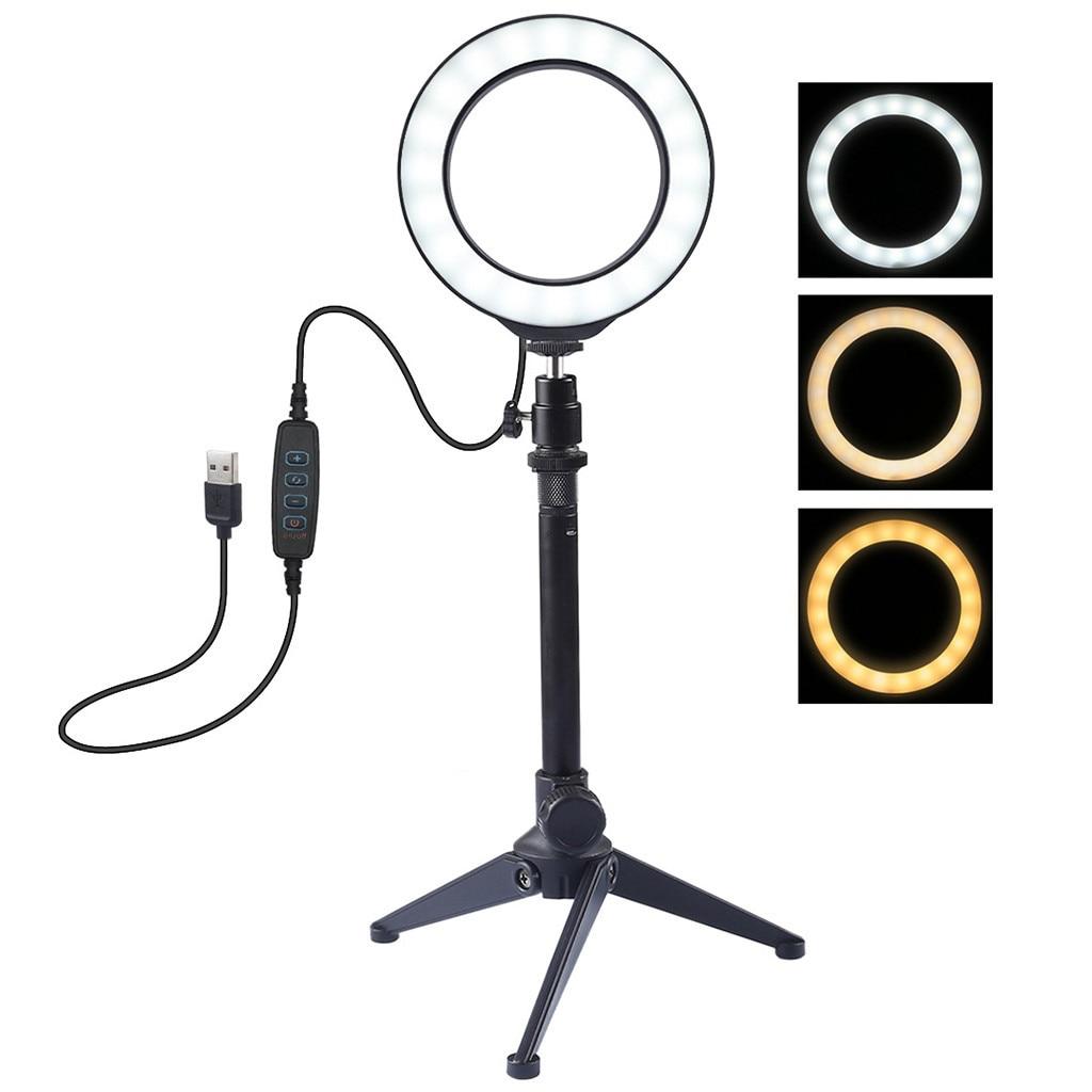 cheapest LED Ring Light Studio Photo Video Mini Lamp Camera Selfie Phone USB Rechargeable