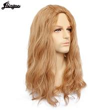 Ebingoo Free Hair Cap+Brown Long Water Wave Synthetic Cosplay Wig Men