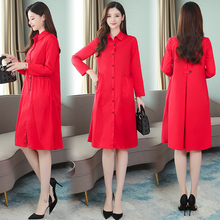 Autumn Maxi Women's Loose Trench Coat Fashion Thin Red & Black Plus Size Korean Elegant Vintage Party Long Windbreaker Outwear plus size beaded maxi long coat