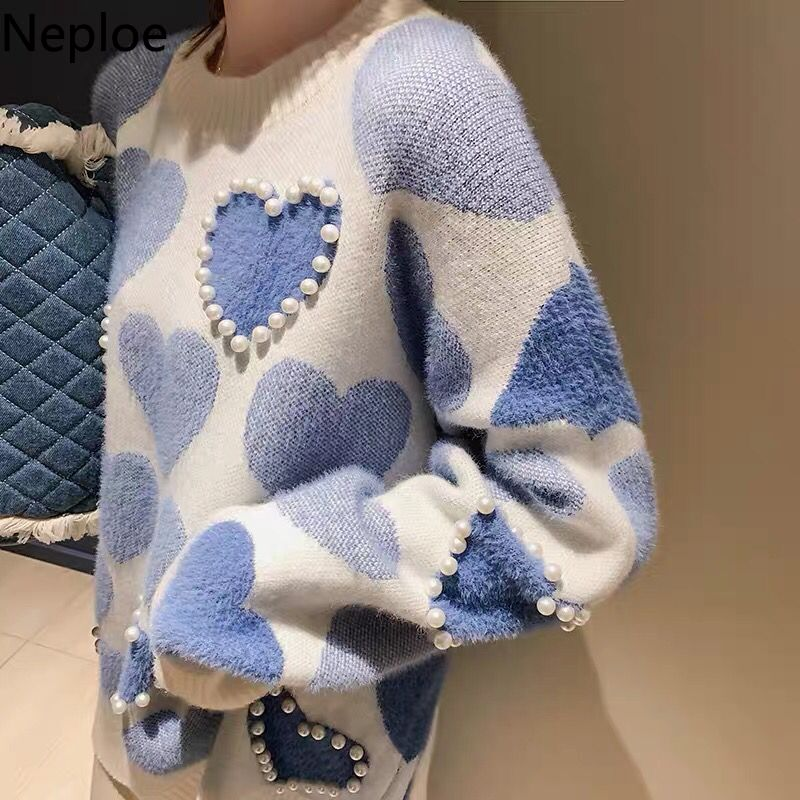 Neploe Faux Mink Cashmere Sweater 2020 Autumn Women Pullover Beaded Love Heart Jacquard Knitted Jumper Casual Pull Femme 55469