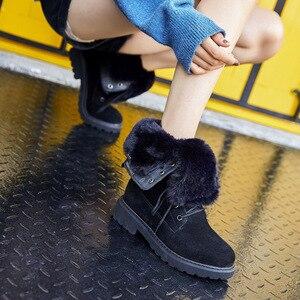 Image 3 - Centenary Vierkante hak laarzen voor vrouwen Ronde Neus vrouwen schoenen Lage (1 cm 3 cm) winter schoenen vrouwen Lace Up harige laarzen