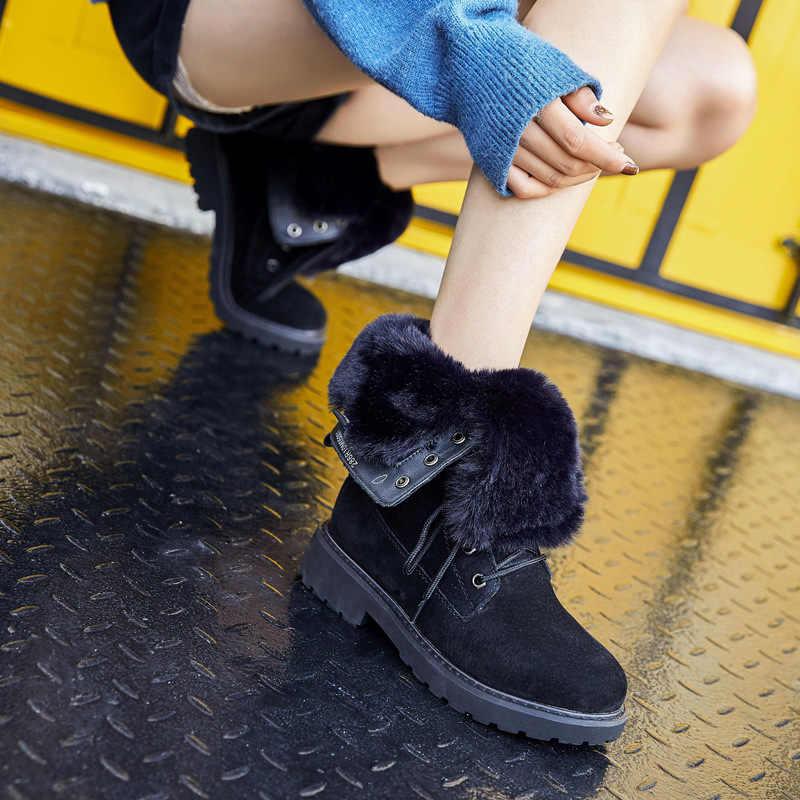 Yüzüncü yıl kare topuk çizmeler kadınlar için yuvarlak ayak kadın ayakkabı düşük (1 cm-3 cm) kış ayakkabı kadınlar dantel-up kürklü çizmeler