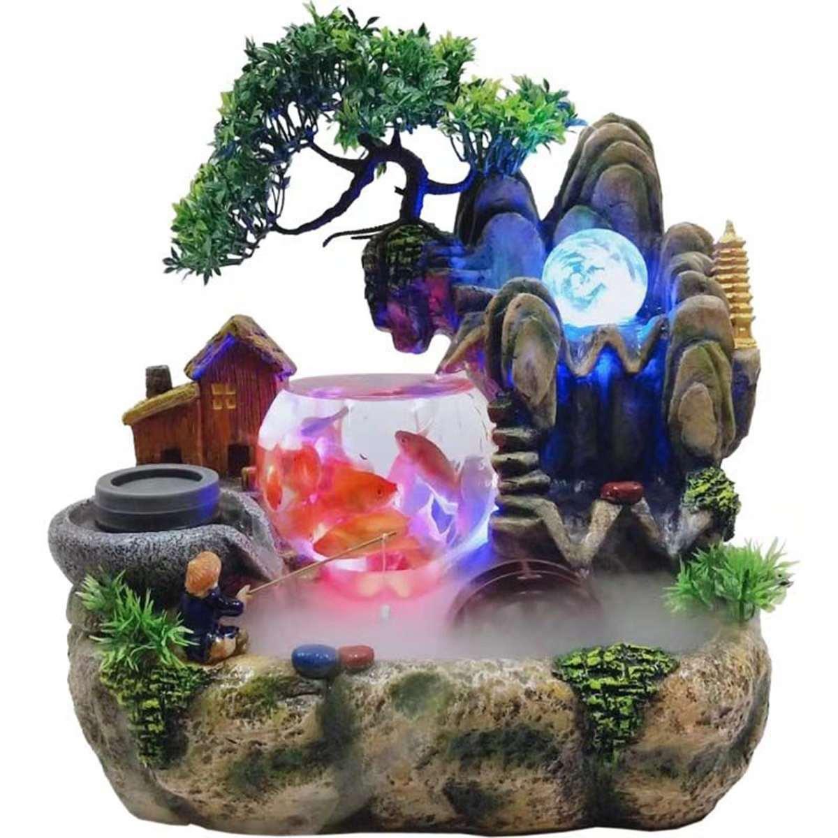 220V LED résine rocaille cascade Statue bureau fontaine Feng Shui méditation maison jardin décor Micro paysage avec nébuliseur