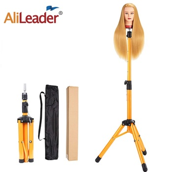 AliLeader Golden Color Aluminum Alloy Mannequin Training wig Head holder Tripod Adjustable Tripod Wig Stands Holder Clamp