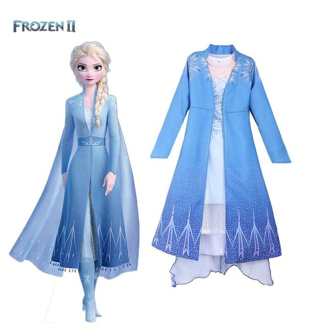 2019 yeni film dondurulmuş 2 Fantasia top bebek kız Anna Elsa parti prenses mavi elbise çocuklar cosplay anime kostüm karnaval elbise