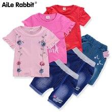 2019 New Arrival Girls Clothes Suit Short-sleeved T-shirt Denim Shorts 2 Piece Set Cartoon Kitten Floral Hot Summer Sale