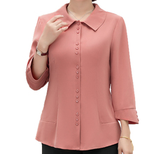 Peter Pan Collar Shirt Woman Smart Casual Pink Yellow Pure Colour Nine Length Sleeve Top Office Lady Elegant Blouse Less is More