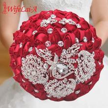 цена 21cm Beautiful Burgundy Pearls Crystal Artificial Flowers Wedding Bouquet Rose Holding Flowers Bridal Bridesmaid Bouquet W290