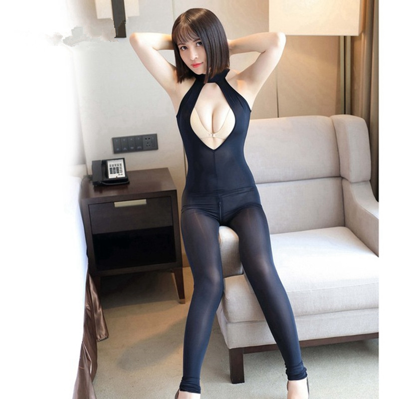 Women Sexy Open Crotch Bodysuit Sheer Lingerie Double Zipper Fetish Catsuit Transparent Bodystocking Sexy Hot Erotic Costumes