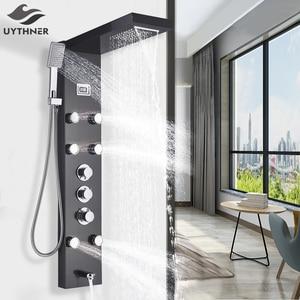 Image 1 - Black Bath Shower Thermostatic Mixer Shower Panel Rainfall Waterfall Massage Jets Shower Column  Shower Faucet Tower Shower Set