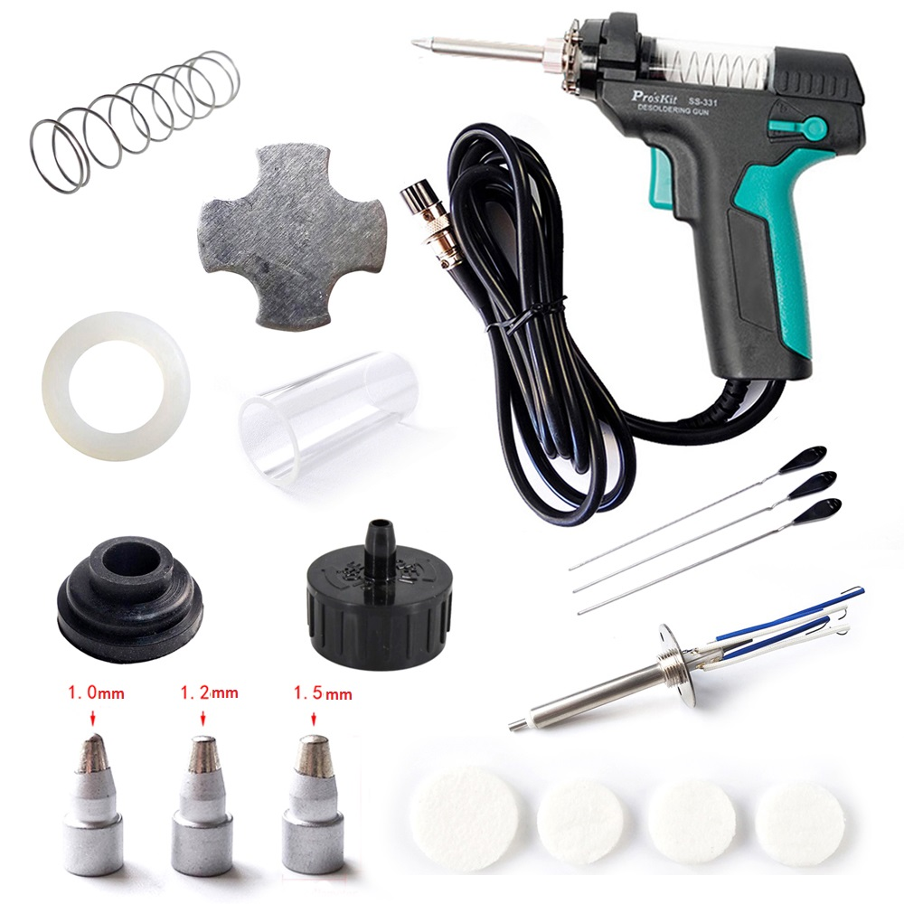 Pro'sKit SS-331H Electric Desoldering Station Tin Gun Suction Tin Pump Accessories Filter Pipe Nozzle Heater Needle Mat Spring