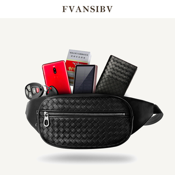 Men's Pockets Woven Leather Small Chest Pack Youth Bag Multi-Function Storage Bag Brand Design 2019 New Fashion Mobile Phone Bag