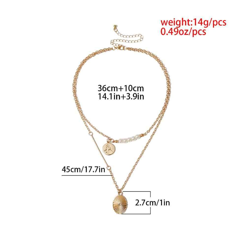Ingemark punk imitação de pérola pingente gargantilha colar de casamento das mulheres do vintage moeda longa corrente colar moda feminina pescoço jóias