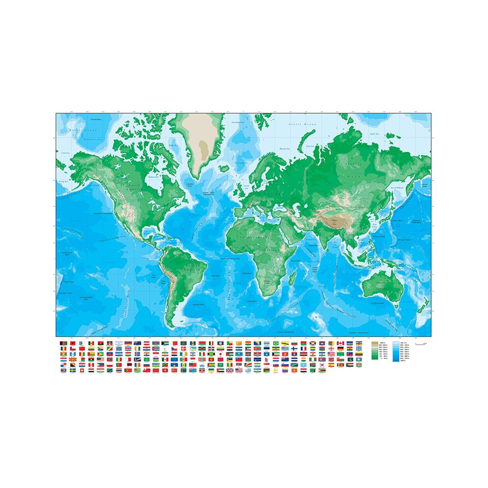 150x225cm The World Map Mercator Projection Non-woven Elevation Map With National Flag