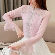 Korean autumn women blouses woman chiffon blouse shirt lace print shirts blusas mujer de moda ruffles