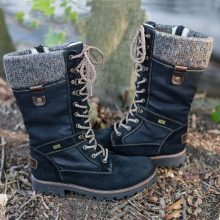 Winter Stiefel Frauen Grundlegende Frauen Mid-Kalb Stiefel Runde Kappe Zip Plattform Decor Weibliche Schuhe Warm Lace Up Schuhe(China)