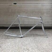 Marco de bicicleta vintage 700C 52cm enchapado en plata Marco de bicicleta de engranaje fijo montura de bicicleta de una sola velocidad marco de acero con horquilla