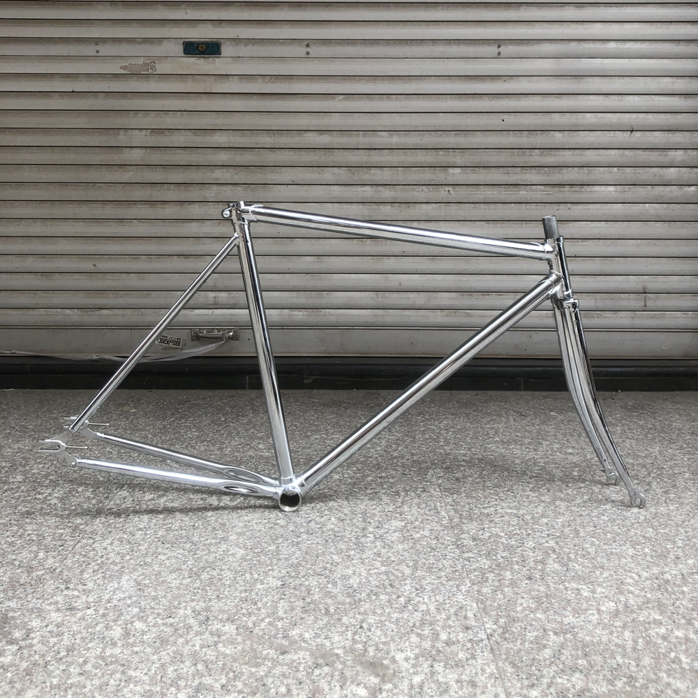 700C vintage <font><b>bike</b></font> <font><b>frame</b></font> 52cm sliver plating fixed gear <font><b>bike</b></font> <font><b>frame</b></font> single Speed bicycle lug <font><b>frame</b></font> <font><b>steel</b></font> with fork image