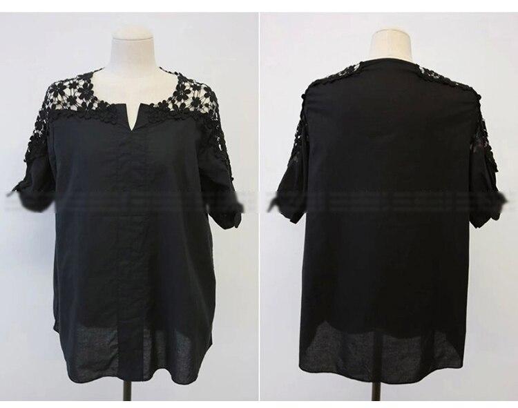 KarSaNy Plus Size White Embroidery Blouses For Women Summer 2021 Long Black Tops Summer Women's OL Shirts Women Cotton Blouse