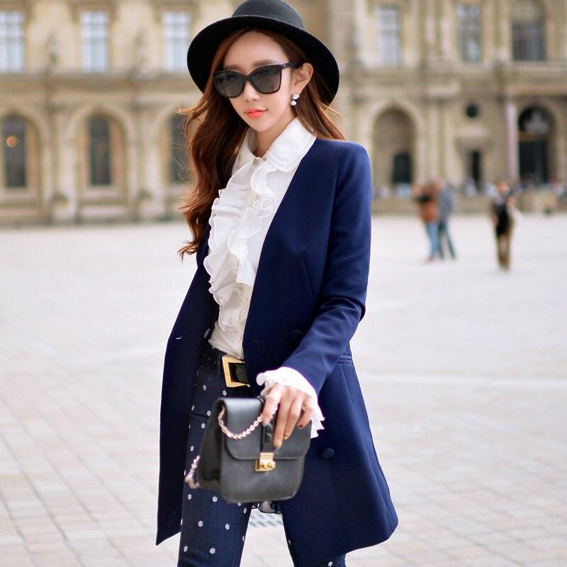 Dabuwawa Spring Autumn Long Sleeve Blazer Feminino V Neck Suit Outwear Top D16AOT009