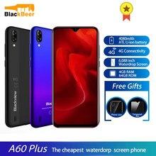 Blackview A60 Plus Android 10,0 смартфон с четырёхъядерным процессором, 4 ГБ, 64 ГБ, мобильный телефон, 5 Мп + 8 Мп, двойная камера, 4080 мАч