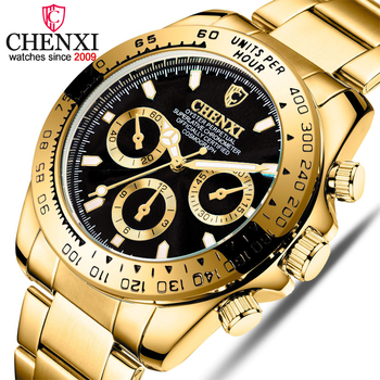 CHENXI Male Golden Wristwatches For Men Watches Casual Quartz Watch Luxury Brand Waterproof Clock Man Relogio Masculino baogela men fashion casual quartz watch male casual leather band wristwatches waterproof watches relogio masculino