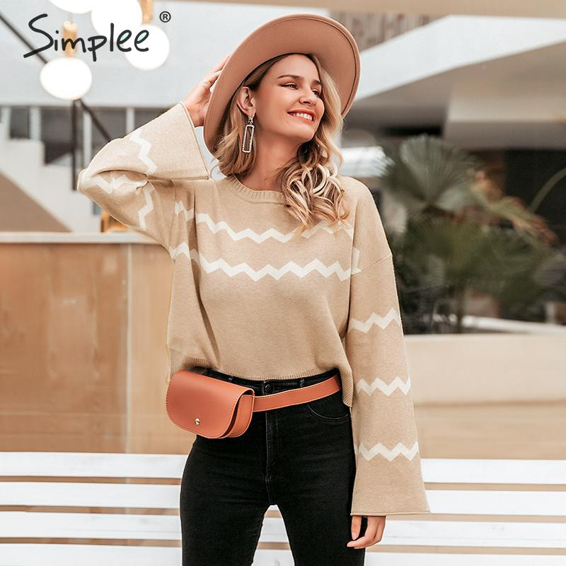 Simplee O-neck Women Pullover Sweater Autumn Winter Flare Sleeve Female Sweater Stripe Print Casual Ladies Jumper Sweater 2019