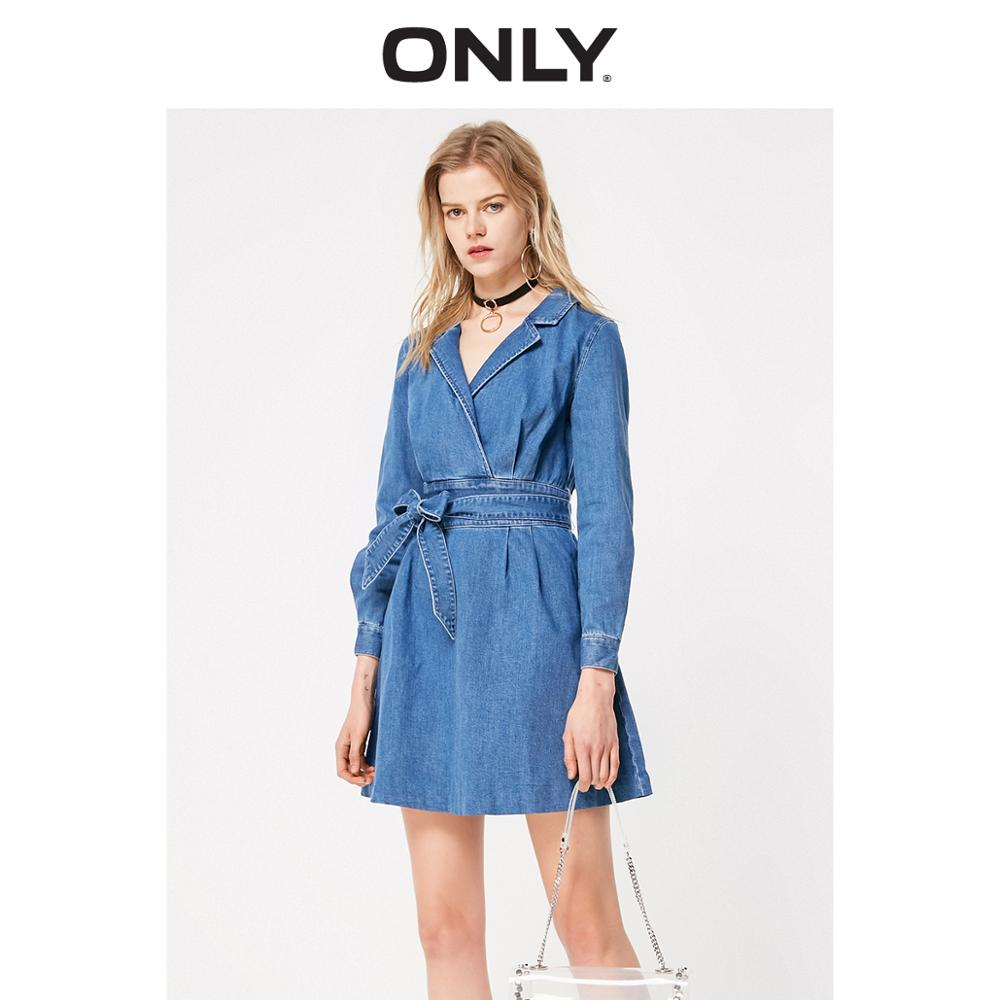 ONLY Women's Turn-down Collar Lace-up Cinched Waist Denim Dress | 119142511
