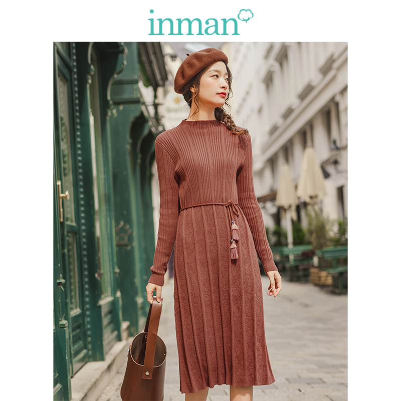 INMAN 2019 Autumn New Arrival Solid Stand Up Collar Jacquard Defined Waist Slim Elegant Lacing Women Jersey Dress