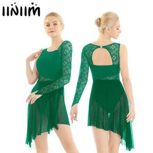 Image 1 - Feminino ballet collant vestido único com dedo laço corpete lírico moderno dança wear femme adulto assimétrico ginástica traje