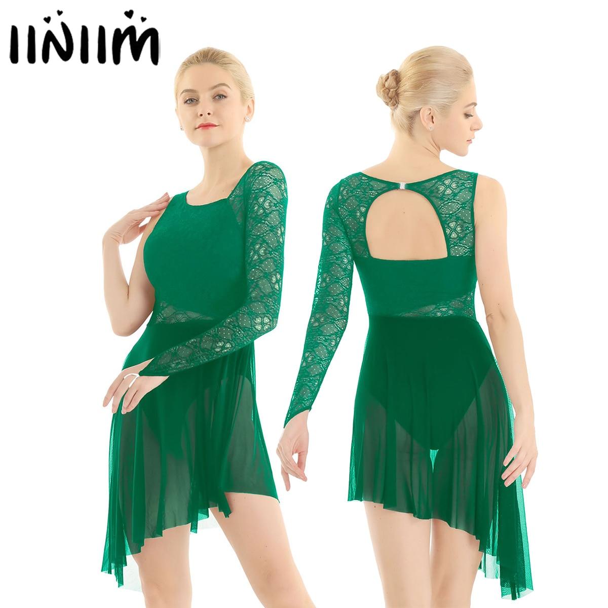 Women Ballet Leotard Dress Single With Fingertip Lace Bodice Lyrical Modern Dance Wear Femme Adult Asymmetric Gymnastics Costume
