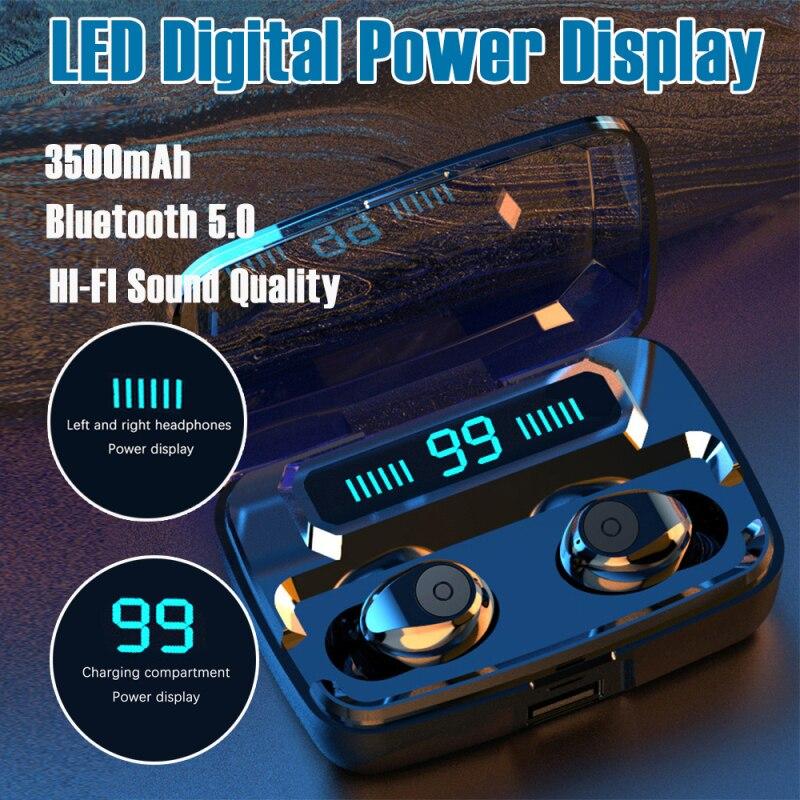 F9 Mini Bluetooth 5,0 гарнитура емкостью 3500 мАч TWS наушники светодиодный Близнецы IPX7 водонепроницаемые 5D стерео наушники
