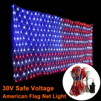 30V American Flag LED String Lights Hanging Ornaments Garden Decoration Net Lights Christmas Waterproof Outdoor Fairy Lights D30