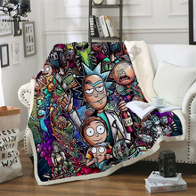 Plstar Cosmos Cartoon Rick and Morty funny Fleece Blanket 3D printed Sherpa Blanket on Bed Home Textiles Dreamlike style-6