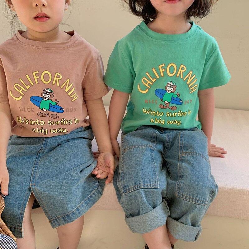 897.0¥ 46% OFF MILANCEL 2021 Summer New Kids Tees Cartoon Boys O Neck Girls T shirt Short Sleeve Te...