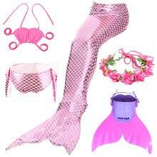 Menina sereia cauda com barbatanas monofin flipper trajes sereia natação caudas para crianças meninas cosplay bikini wear maiôs