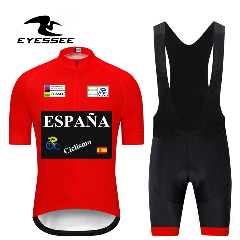 New! 2019 Team Tour of Spain Cycling Clothing Cycling Sets Bike uniform Summer Mens Cycling Jersey Set Road Bicycle Jersey Sets