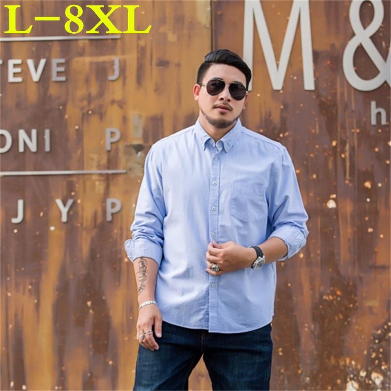 New Plus Size 8XL 7XL6XL Brand Casual Men Shirt Slim Fit Men Multicolor Shirt Long Sleeve Cotton Mens Dress Shirts Chemise Homme
