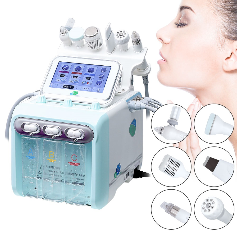 6in1 Small Bubble Skin Care Tools BIO Ultrasonic RF Hydra Deep Facial Pore Clean Facial Massage Skin Rejuvenation Machine