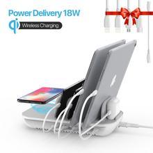 SooPii 60W 5 Port şarj istasyonu ile 10W kablosuz şarj pedi, 1 USB C portu ile 18W güç teslimat birden fazla cihaz için