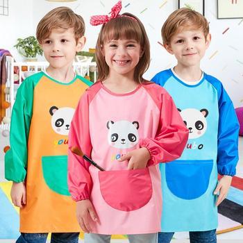 Dzieci fartuch malarski fartuch kuchenny Craft płaszcz z dużymi kieszeniami-dzieci fartuch malarski sztuka dla dzieci fartuch malarski s z długim rękawem tanie i dobre opinie CN (pochodzenie)