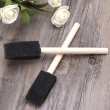 10Pcs Sponge Brush Wooden Handle Watercolor Oil Stain Art Craft Painting Drawing T8WE