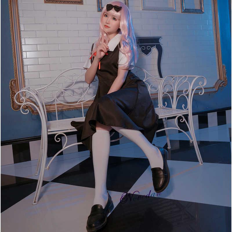 Kaguya-Sama Love is War Cosplay del Costume Del Anime di Kaguya Sama Shinomiya Fujiwara Chika Cosplay Scuola Giapponese Uniforme Dress + parrucca
