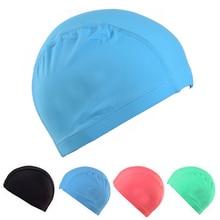 Elastic Waterproof PU Fabric Protect Ears Long Hair Sports Swim Pool Hat Home Swimming Water Cap Free Size for Men Women